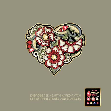 Embroidered love heart-shaped patch with a floral pattern and a set of rhinestones and sparkles. Vector illustration. Stock Illustratie