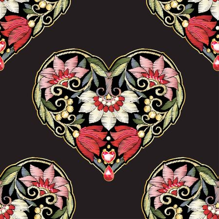 Seamless pattern with mbroidered love heart-shaped patch with a floral pattern in vintage style with rhinestones and sparkles. Vector illustration isolated on black background. Stock Illustratie