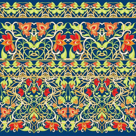 Arabic floral seamless pattern. Traditional arabic islamic background. Mosque decoration element. Vector illustration. 向量圖像