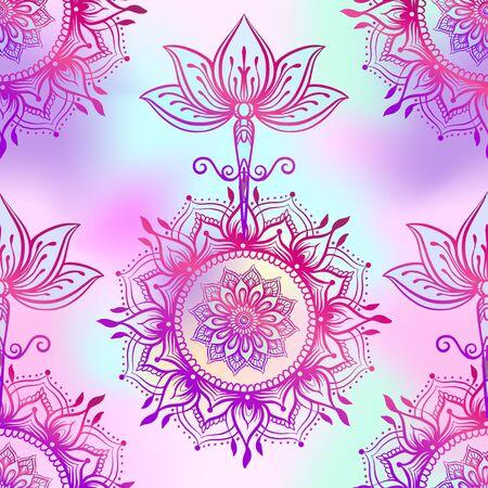 Nahtloses Muster mit verzierter Lotusblume. Ayurveda-Symbol für Harmonie und Gleichgewicht und Universum.