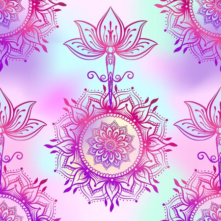 Seamless pattern with ornate Lotus flower. Ayurveda symbol of harmony and balance and universe.