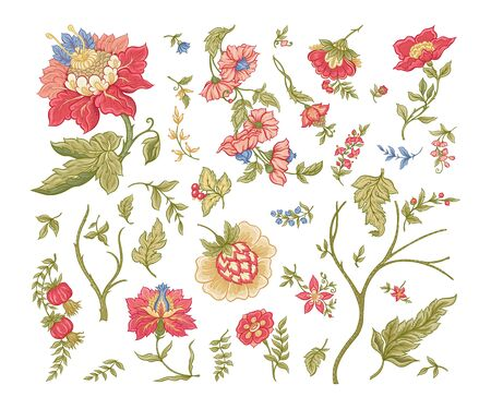 Set of Fantasy flowers in retro, vintage, jacobean embroidery style. Embroidery imitation isolated on white background. Vector illustration. Stock Illustratie