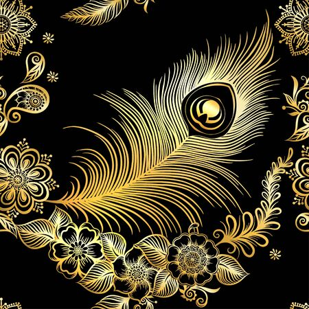 Peacock feathers in eastern ethnic style, traditional indian henna floral ornament. Seamless pattern, background in gold and black. Vetores