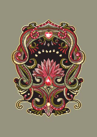 Patch embroidery imitation. Decorative motif in retro, vintage, jacobean embroidery style. Vector illustration.
