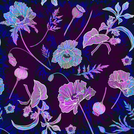 Seamless pattern, background with miraculous, hallucinogenic plants in botanical style in neon colors.