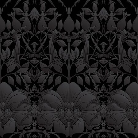 Floral Seamless pattern, background with In art nouveau style, vintage, old, retro style. Vector illustration in black colors.. Vettoriali