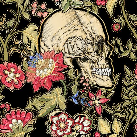 Seamless pattern, background with patch, embroidery imitation. Decorative floral motif with human skull in retro, vintage, jacobean embroidery style. Vector illustration isolated on black. Illustration
