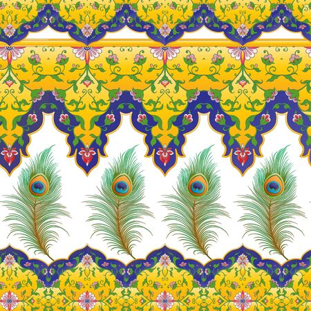 Peacock feathers Seamless pattern, background. Colored vector illustration isolated on white background