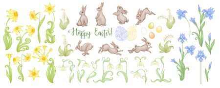 Happy Easter Set of hares, patterned eggs and spring flowers: iris, lily of the valley, snowdrop daffodil. In art nouveau style, vintage retro style. Outline vector illustration
