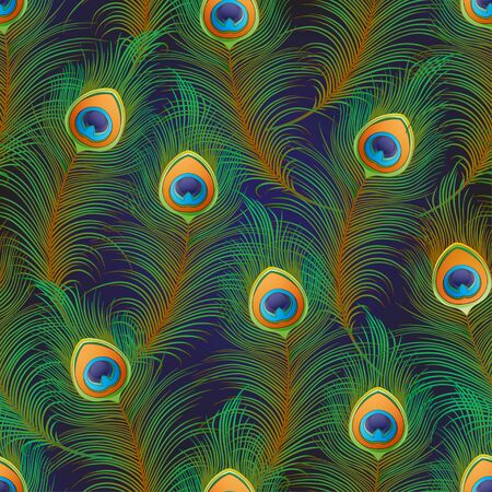 Peacock feathers Seamless pattern, background. Colored vector illustration on dark blue background Ilustracja