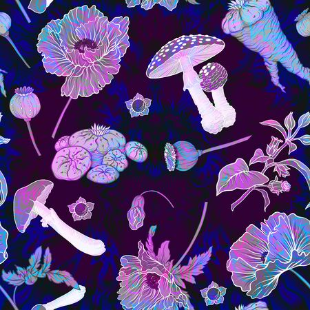 Seamless pattern, background with miraculous, hallucinogenic plants in botanical style in neon colors. Vector illustration