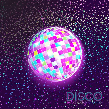 Disco ball. Disco background. Night Club party light element. Bright mirror ball design for disco dance club. Vector. Stock Illustratie
