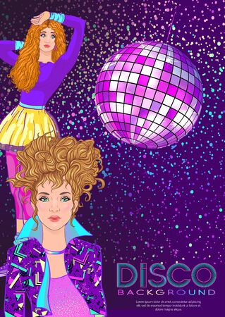Disco time Party design template with fashion girl, disco ball, light and place for text. Invitation template design for glamour event, thematic wedding, party flyer. Vector illustration.