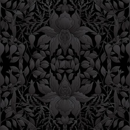 Floral Seamless pattern, background with In art nouveau style, vintage, old, retro style. Vector illustration in black colors.