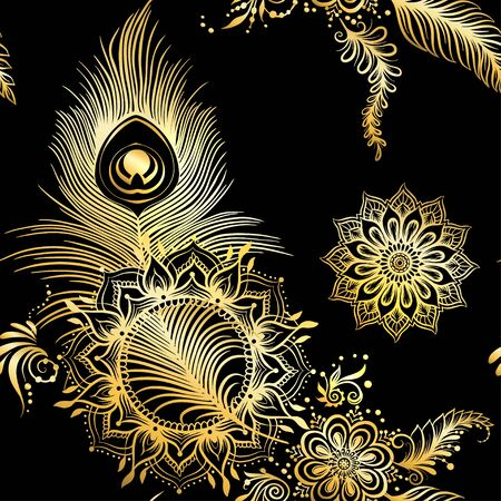 Peacock feathers in eastern ethnic style, mehendi, traditional indian henna floral ornament. Seamless pattern, background in gold and black. Vector illustration. Vetores