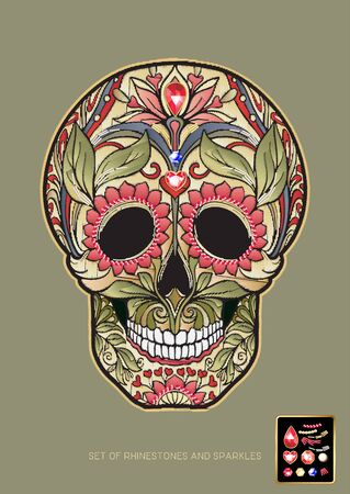 Embroidered patch with a floral patterned human skull for tradition mexican Day of the Dead and a set of rhinestones and sparkles. Vector illustration.