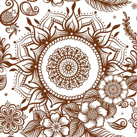 Eastern ethnic style compositions, mehendi, traditional indian henna floral ornament. Seamless pattern, background. Vector illustration.