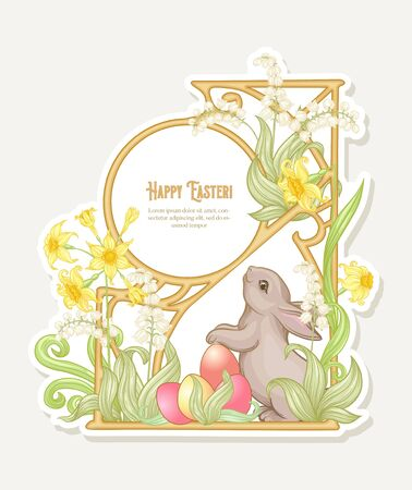 Happy easter. Template postcard, poster with a hare and colored eggs, spring flowers. Good for product label with place for text. Colored vector illustration In art nouveau vintage retro style