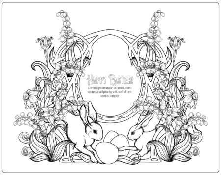 Happy easter. Template postcard, poster with a hare, eggs and spring flowers. In art nouveau style, vintage, old, retro style. Outline hand drawing vector illustration. Coloring page.