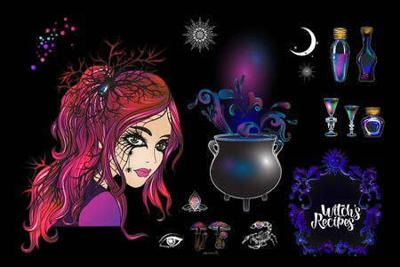 Young woman witch with cauldron, magician plants and animals Clip art, set of elements for witchcraft design. Colored vector illustration..