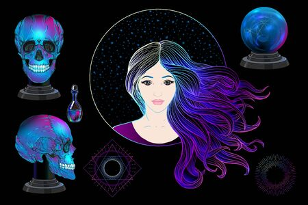 Young woman witch, fortune teller with magic ball, human skull, potion. Clip art, Set of elements for witchcraft design. Colored vector illustration..