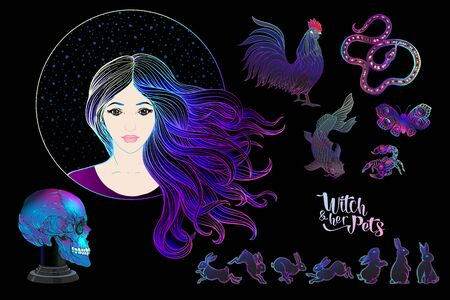 Young woman witch with her mystical pets and human skull. Clip art, Set of elements for design. Colored vector illustration.