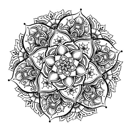 Mandala. Vintage round pattern. Hand drawn abstract background. Traditional Indian henna mehendi tattoo element. Outline vector illustration.