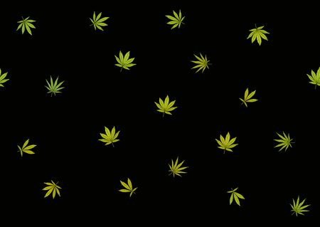 Cannabis leaves seamless pattern, background. Vector illustration in green colors Isolated on black background. Illustration
