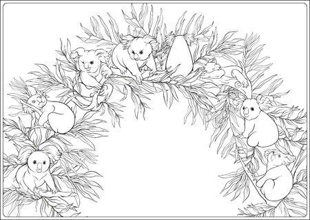 Koala et eucalyptus. Page de coloriage pour le livre de coloriage pour adultes. Décrire l'illustration vectorielle de dessin à la main.. Vecteurs