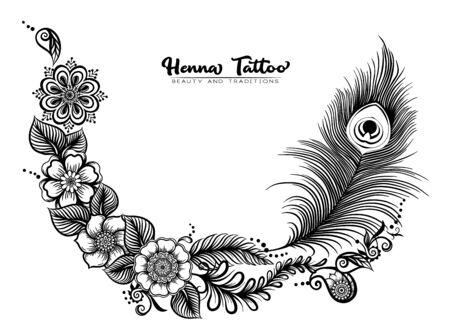 Conception de modèle avec tatouage au henné indien traditionnel avec plume de paon. Modèle d'invitation de mariage, carte de voeux, bannière, bon cadeau, étiquette. Illustration vectorielle de contour..