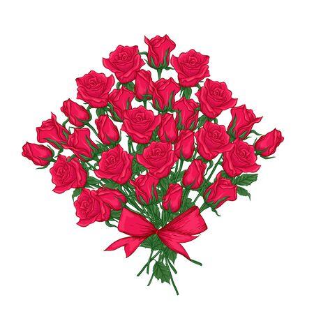 Red roses set. Multicolor vector illustration. Element for design.