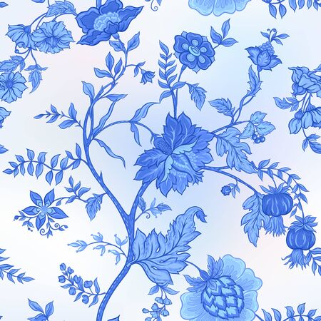 Seamless pattern with stylized ornamental flowers in retro, vintage style. Jacobin embroidery. Vector illustration In blue colors
