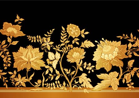 Seamless pattern with stylized ornamental flowers in retro, vintage style. Jacobin embroidery. Vector illustration In gold and black. Çizim