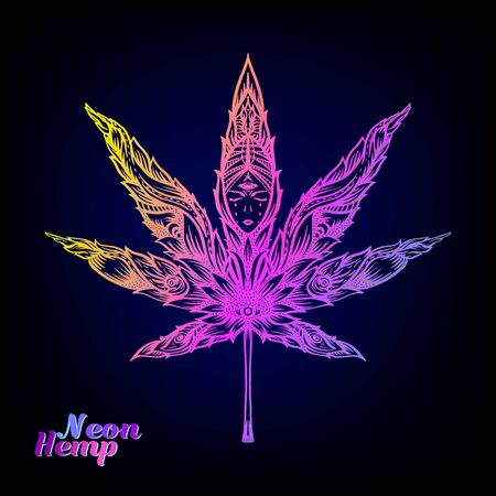Cannabis leaf decorated with original modern pattern. Element for design. Vector illustration In decorative style. Ethnic patterned ornate hand drawn in neon colors Çizim
