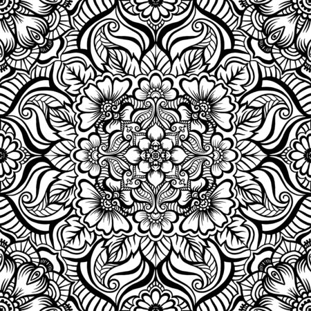 Eastern ethnic motif, traditional indian henna ornament. Seamless pattern, background in black and white colors. Outline vector illustration.