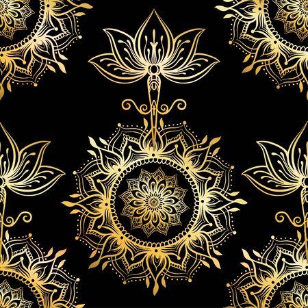 Modèle sans couture avec fleur de Lotus ornée. Symbole ayurvédique d'harmonie, d'équilibre et d'univers. Conception de tatouage, logo de yoga. Imprimé bohème, affiche, textile t-shirt. Décrire l'illustration vectorielle en or et noir.