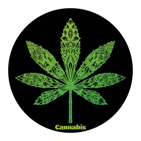 Cannabis leaf decorated with original modern pattern. Element for design. Vector illustration In decorative style. Ethnic patterned ornate hand drawn.. Çizim