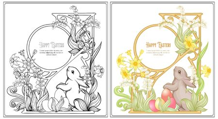 Happy easter Coloring page for the adult coloring book with spring flowers, eggs and rabbit. Vector illustration In art nouveau style. Outline hand drawing vector illustration with colored sample.