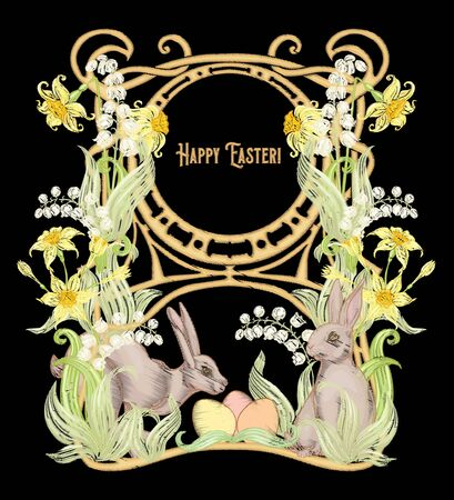 Happy easter Embroidery imitation with a hare, colored eggs and spring flowers. Good for product label with place for text. Colored vector illustration. In art nouveau style, vintage retro style.