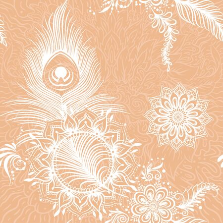 Peacock feathers in eastern ethnic style, mehendi, traditional indian white henna floral ornament. Seamless pattern, background. Vector illustration. Vetores