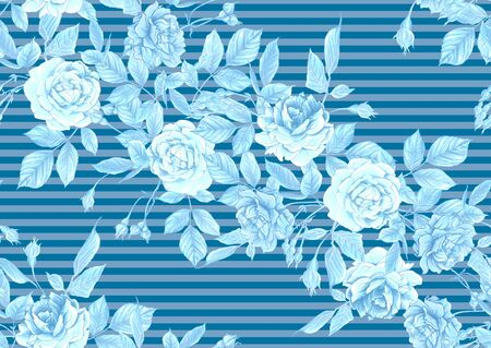 Seamless pattern with roses flowers. Vector illustration in blue colors.