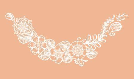 Compositions de style ethnique oriental, mehendi, ornement floral traditionnel indien au henné blanc. Élément pour la conception. Illustration vectorielle.