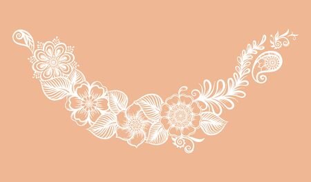 Eastern ethnic style compositions, mehendi, traditional indian white henna floral ornament. Element for design. Vector illustration.