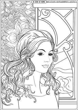 Woman portrait in front of a window and slogan, tag stay at home. Coloring page for the adult coloring book. Outline hand drawing vector illustration..