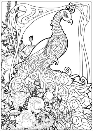 Poster with peacock and roses in art nouveau style, vintage, old, retro style. In Art deco style. Coloring page for the adult coloring book. Outline hand drawing vector illustration. . Vettoriali