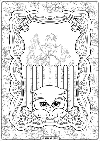 Cute cat in front of a window and slogan, tag stay at home. Coloring page for the adult and kids coloring book. Outline hand drawing vector illustration.. Ilustración de vector