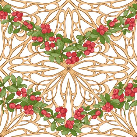 Cranberry in a decorative imitation of a wicker basket made of twigs. Seamless pattern, background. Graphic drawing, engraving style. Vector illustration isolated on white background..