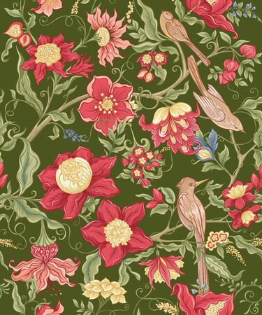 Fantasy flowers and birds in retro, vintage, jacobean embroidery style. Seamless pattern, background. Vector illustration. On army green background.