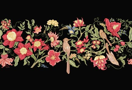 Fantasy flowers and birds in retro, vintage, jacobean embroidery style. Seamless pattern, background. Vector illustration. Isolated on black background.