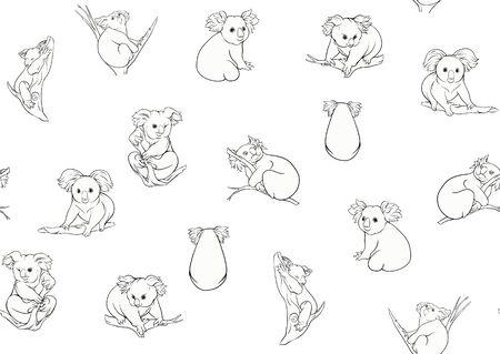 Koala bear seamless pattern. Outline hand drawing vector illustration. Çizim